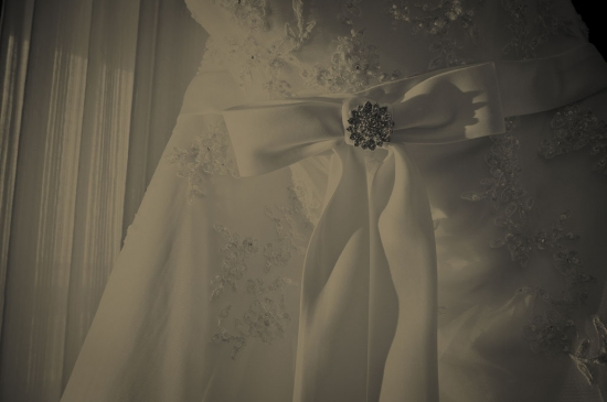 detail of bridal gown