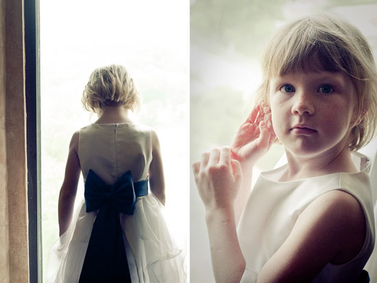 flower girl waiting at the window