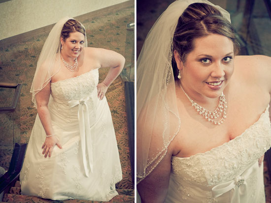 bride standing on stairs at the dfw hilton hotel