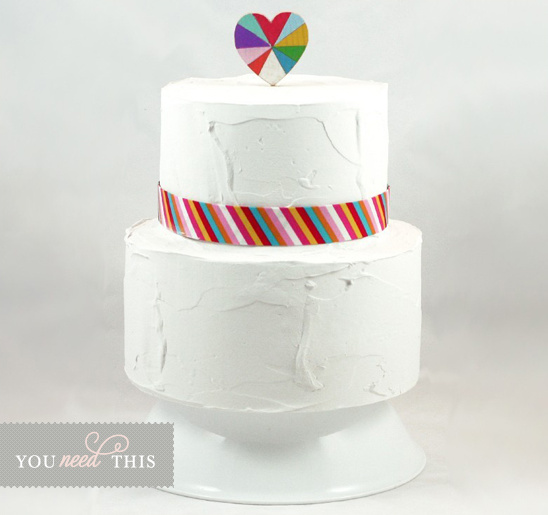 You Need This Love is Beautiful Wooden Rainbow Heart Cake Topper