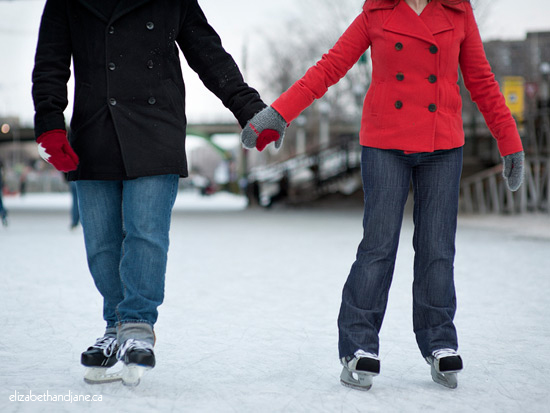 Engagement Photo: couple skating on the Rideau Canal in Ottawa, Canada