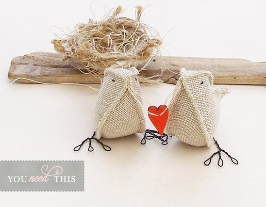 You Need This Burlap Bird Cake Topper