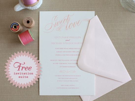 All You Need Is Love Wedding Invitations: Do It Yourself Printable Sweet Love Wedding Invitations