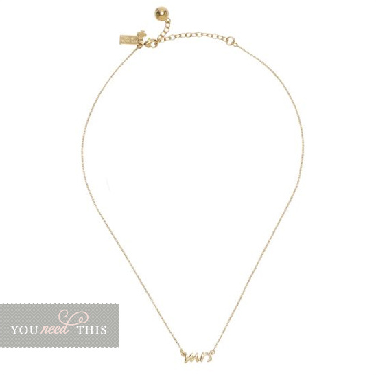 You Need This Kate Spade 'Mrs.' Necklace