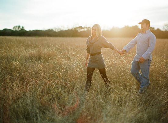 An Engagement in an Open Field from Stephanie Hunter Photography