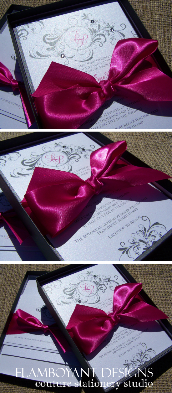 Fuchsia & Silver Boxed Wedding Invitations