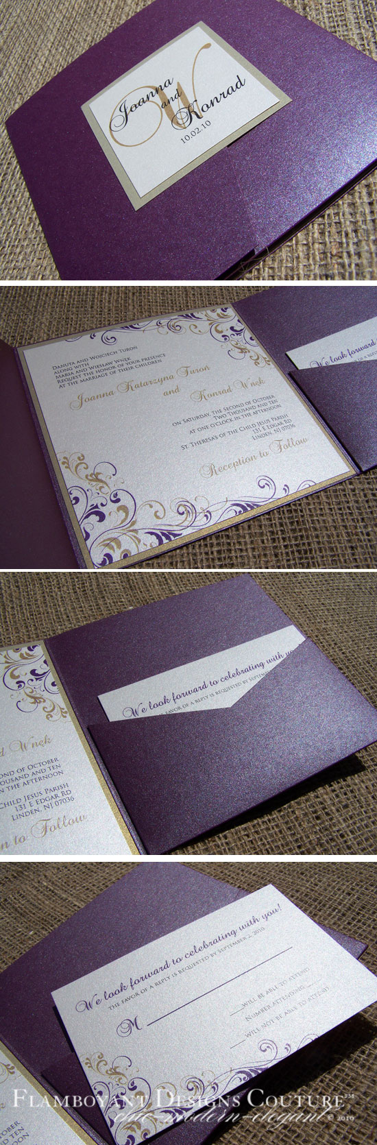 Plum and Gold Pocket Fold Invitations
