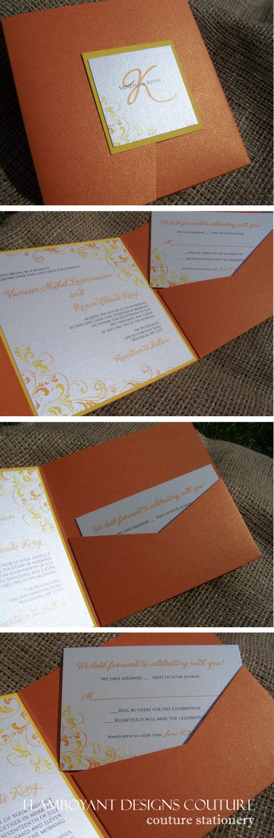 Citrus Theme Pocket Fold Wedding Invitations