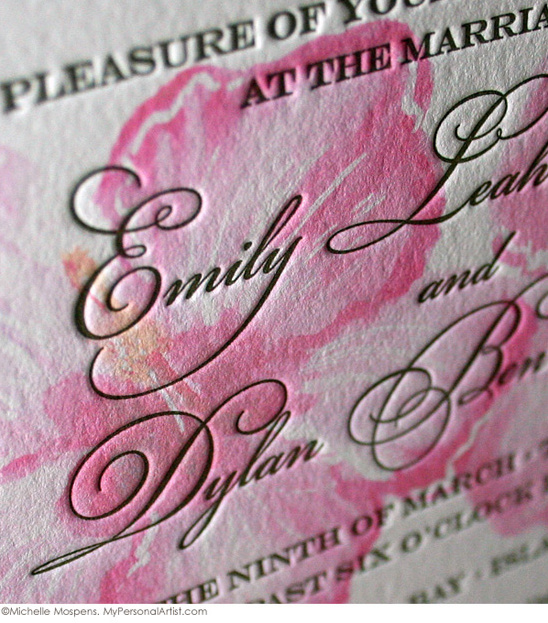 Watercolor + Letterpress Wedding Invitations