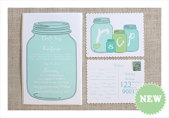 New Mason Jar Wedding Invitation Suite