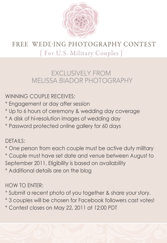 FREE Wedding Photography Contest for Military Couples!