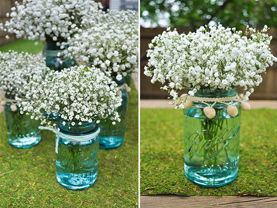 blue mason jar wedding florals