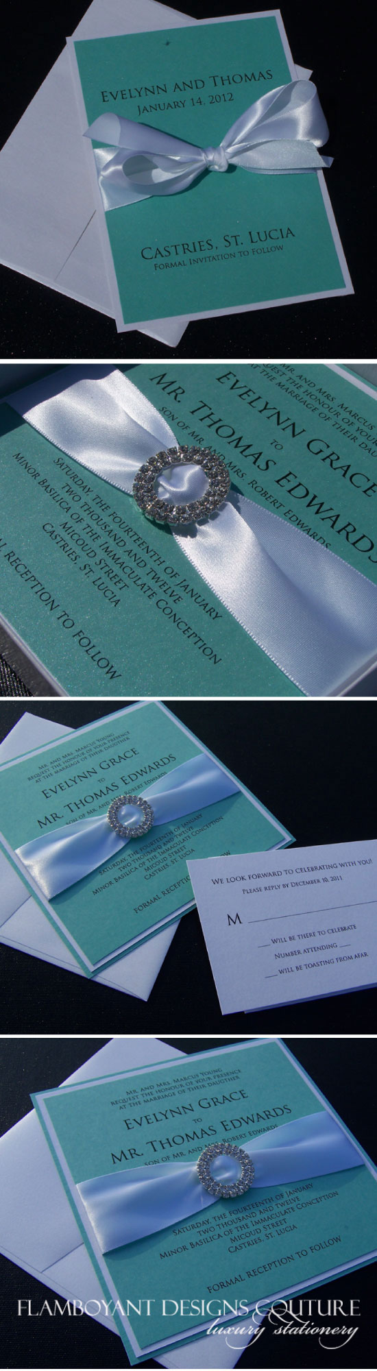 New York Wedding Invitation Designer: Tiffany Blue