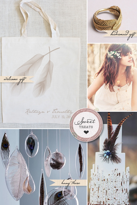 Sweet Treats + Feather Wedding Ideas