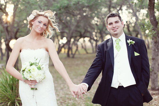 Austin, Texas Green And Black Wedding