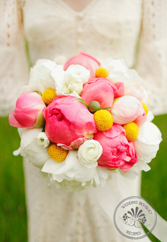 Wedding Bouquet Recipes |  Peonies and Billy Ball Bouquet