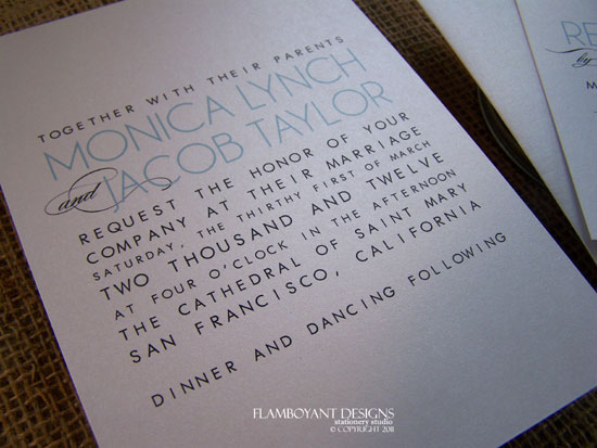 Typeset Wedding Invitations by Flamboyant Designs