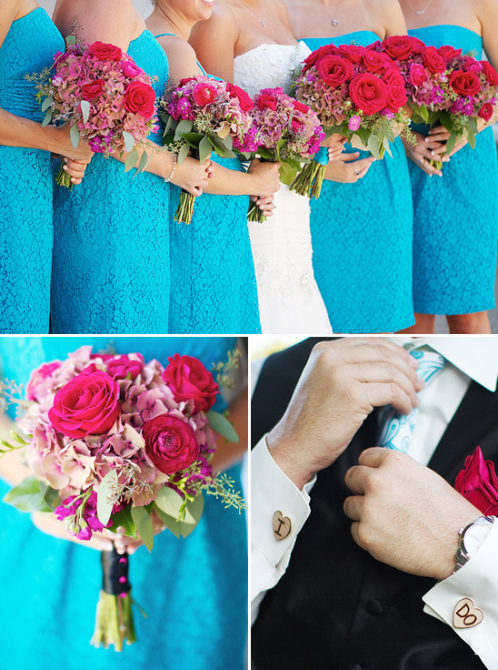 Pink And Teal Wedding