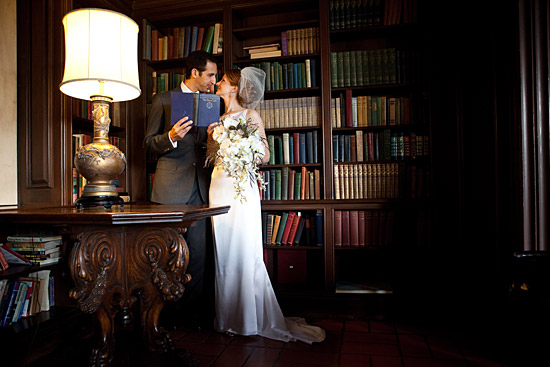 Sixties Inspired Wedding, Portraits in a Library