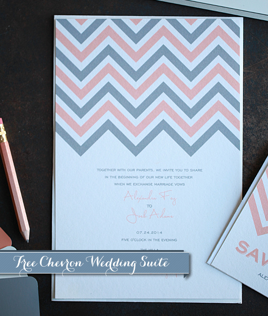 Free Printable Chevron Wedding Invitations