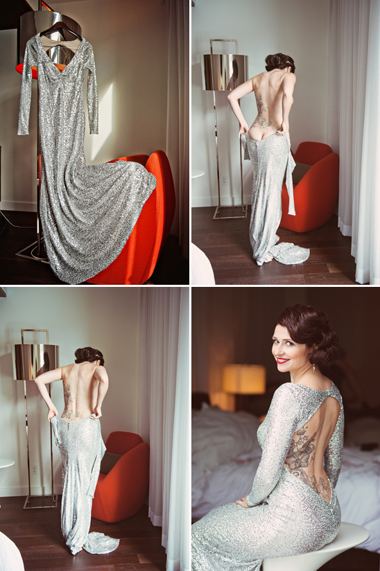 Backless Sparkly Sequin Wedding Dress