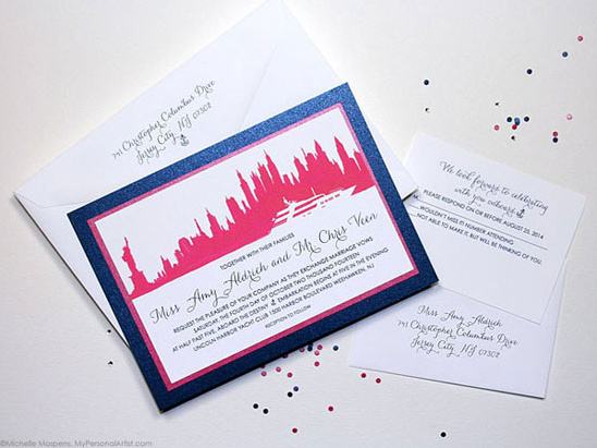Watercolor wedding invitations NYC