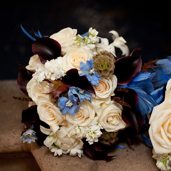 Cream, brown and blue bouquet