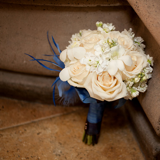 Cream Bridal Bouquet with Something Blue