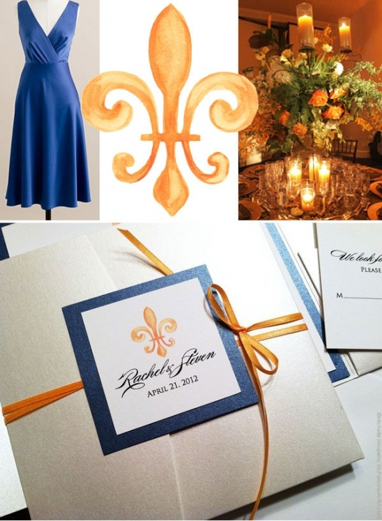 Painted fleur-de-lis custom wedding invitations