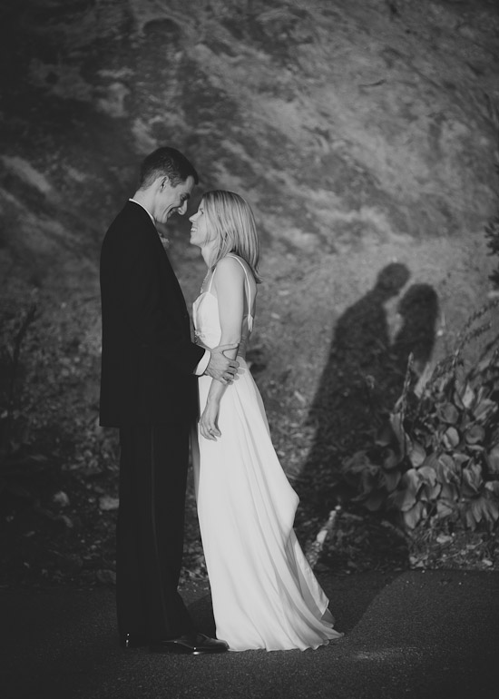 Portrait of bride and groom at Crest Center