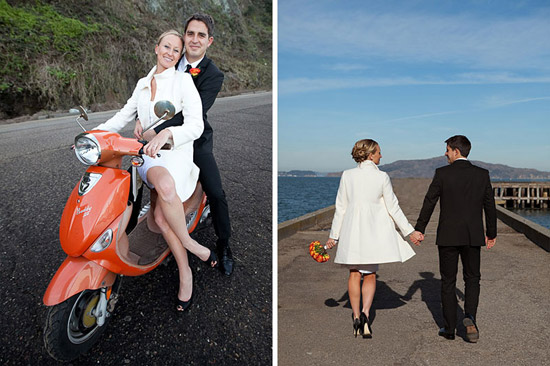 Bride and Groom with Scooter