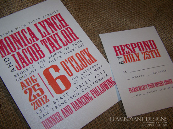 Contemporary Orange and Fuchsia Wedding Invitations by Flamboyant Designs