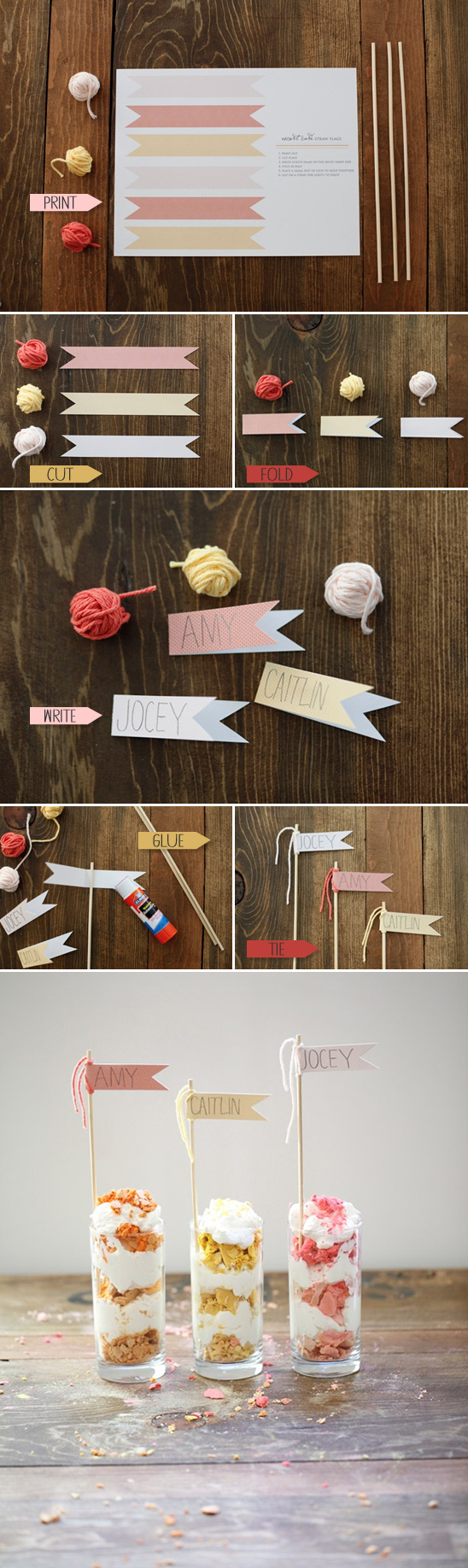 Free Printables | Straw Flag Place Cards