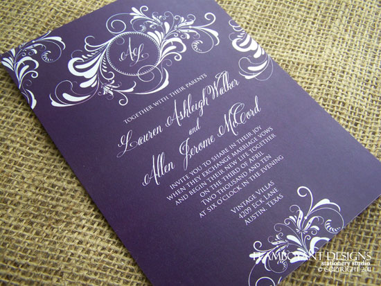 Art Deco Chic Wedding Invitations by Flamboyant Designs