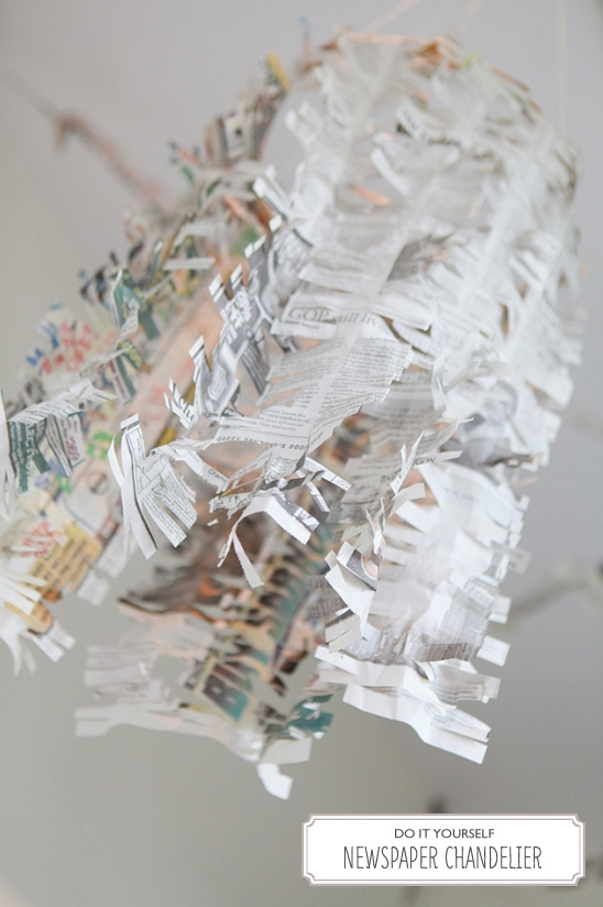 DIY Newspaper Chandelier