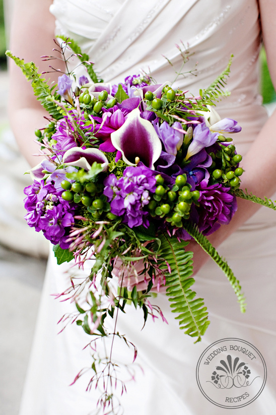 Purple and green wedding bouquet junglespirit