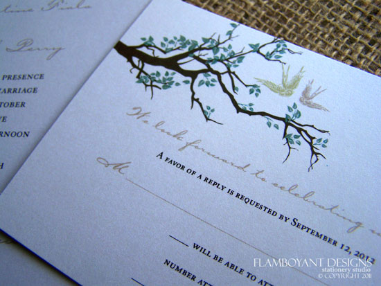 Swooping Swallow Wedding Invitations by Flamboyant Designs
