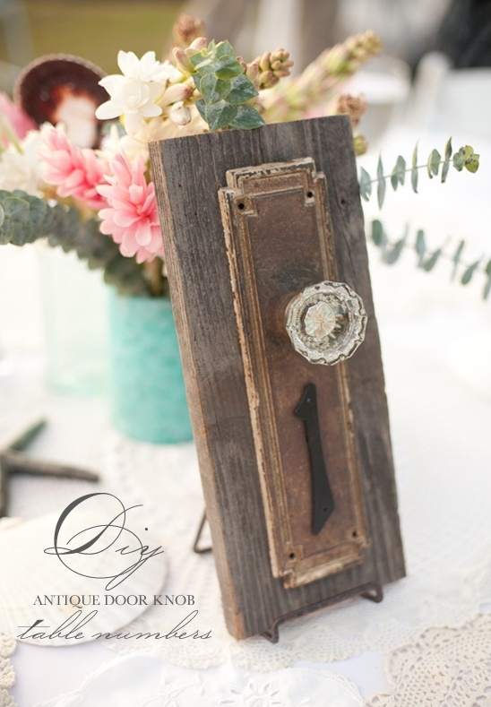 DIY Antique Doorknob Table Numbers