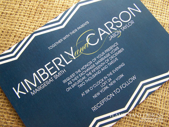 Chevron Romance Wedding Invitations by Flamboyant Designs