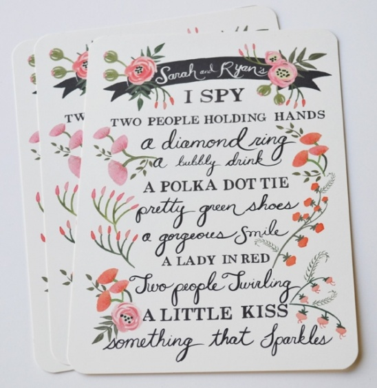 Blog - I Spy Wedding Game Card