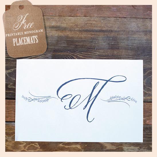 image regarding Printable Placemats Templates named Cost-free Monogram Placemats