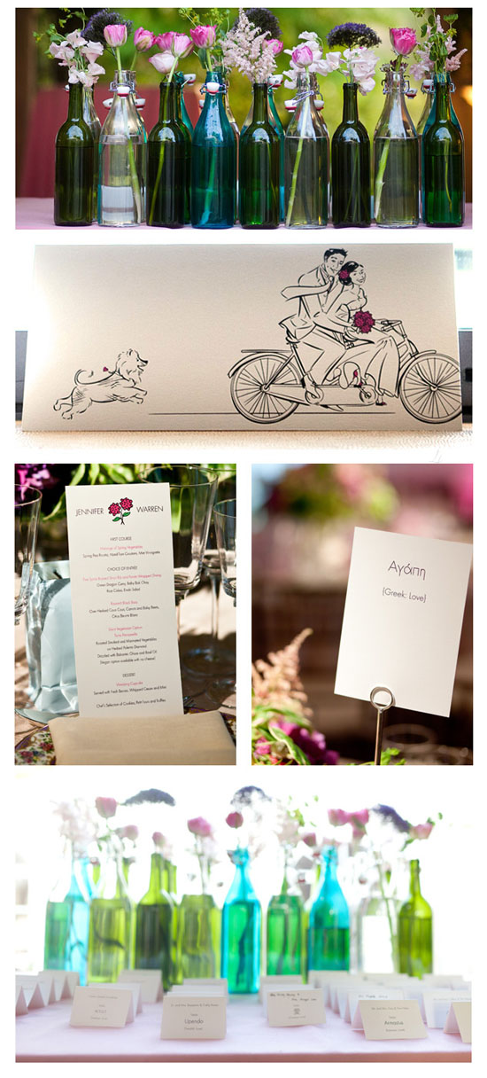 Whimsical and elegant garden wedding with illustration details