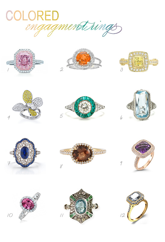 colored stone engagement rings - Stone Wedding Rings