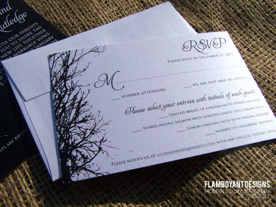 Enchanted Tree Silhouette Wedding Invitations by Flamboyant Designs