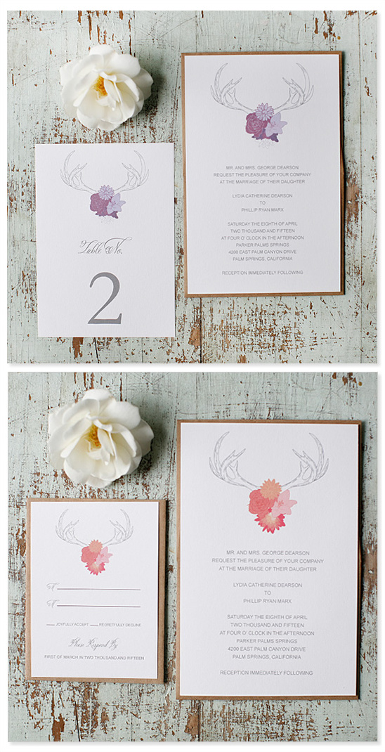 Free Antler Wedding Invitations