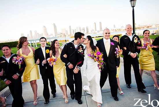 black-yellow-bridal-party-san-diego-skyline