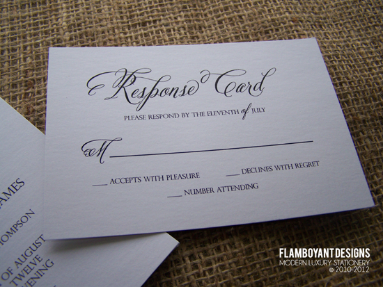 Chic Calligraphy Wedding Invitations by Flamboyant Designs