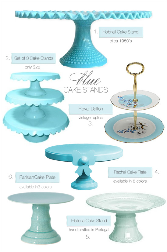 Meringue Encrusted Cake + Blue Cake Stands