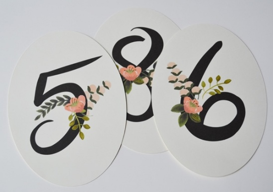 Table Numbers in Florals