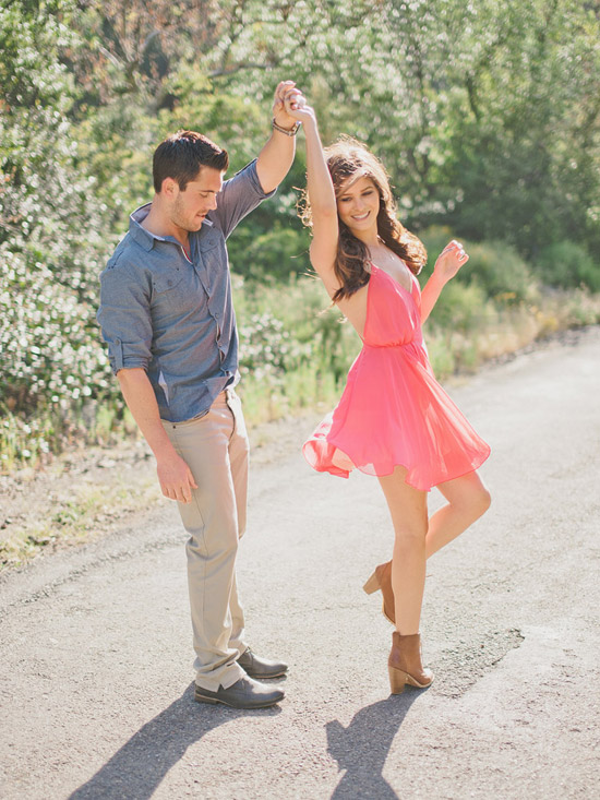 Dancing during an engagement session